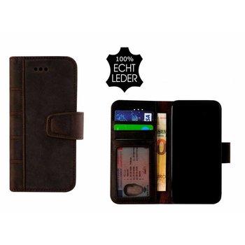Pearlycase® Echt Leer Library Bookcase iPhone X - Antiek Donkerbruin