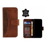 Pearlycase® Echt Leer Moon Bookcase iPhone X - Antiek Bruin