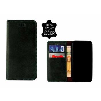 Pearlycase® Echt Leer Slim Bookcase iPhone X - Antiek Donkergroen