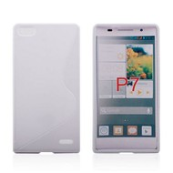 Huawei Ascend P7 - Tpu Siliconen Case Hoesje S-Style Wit