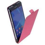 Sony Xperia Z3 - Flipcase Cover Hoesje Lederlook Roze