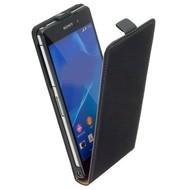 Sony Xperia Z3 - Flipcase Cover Hoesje Lederlook Zwart