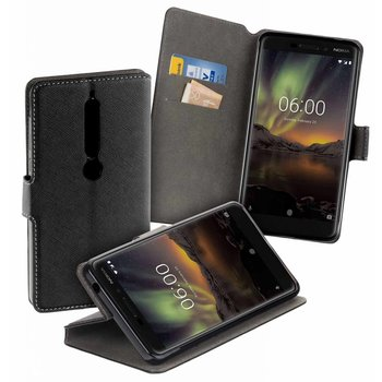 Zwart Y Wallet Bookcase Hoesje voor Nokia 6 (2018)