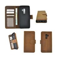 Pearlycase® Pearlycase® Echt Leer  Bookcase Samsung Galaxy S9 Plus - Antiek Bruin Hoesje