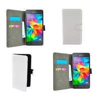 Samsung Galaxy Grand Prime - Wallet Bookstyle Case Lederlook Wit