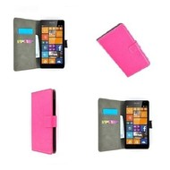 Microsoft Lumia 435 - Wallet Bookstyle Case Lederlook Roze