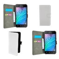 Samsung Galaxy J1 Ace - Wallet Bookstyle Case Lederlook Wit