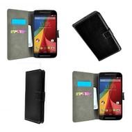 Motorola Moto G (2nd gen) 2014 - Wallet Bookstyle Case Lederlook Zwart