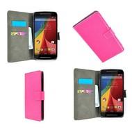 Motorola Moto G (2nd gen) 2014 - Wallet Bookstyle Case Lederlook Roze