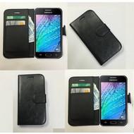 Samsung Galaxy J1 Ace - Wallet Bookstyle Case Lederlook Zwart