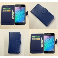 Samsung Galaxy J1 Ace - Wallet Bookstyle Case Lederlook Blauw