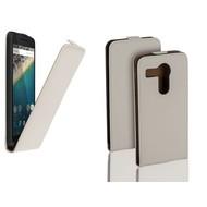 Lg Nexus 5X - Flip Case Cover Hoesje Leder Wit