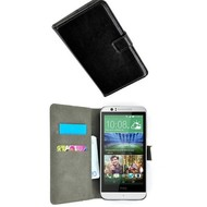 HTC Desire 510 - Wallet Bookstyle Case Lederlook Zwart