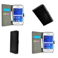 Samsung Galaxy Young 2 - Wallet Bookstyle Case Lederlook Zwart