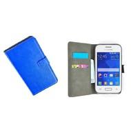 Samsung Galaxy Young 2 - Wallet Bookstyle Case Lederlook Blauw