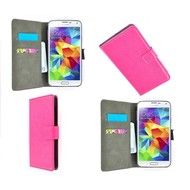 Samsung Galaxy S5 Mini - Wallet Bookstyle Case Lederlook Roze