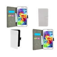 Samsung Galaxy S5 Mini - Wallet Bookstyle Case Lederlook Wit