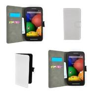 Motorola Moto E - Wallet Bookstyle Case Lederlook Wit