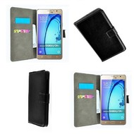 Samsung Galaxy On7 - Wallet Bookstyle Case Lederlook Zwart