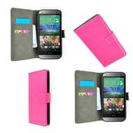 HTC One M7 - Wallet Bookstyle Case Lederlook Roze