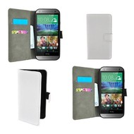 HTC One M7 - Wallet Bookstyle Case Lederlook Wit