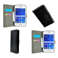 Samsung Galaxy Core 2 - Wallet Bookstyle Case Lederlook Zwart