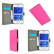 Samsung Galaxy Young - Wallet Bookstyle Case Lederlook Roze
