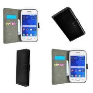 Samsung Galaxy Young - Wallet Bookstyle Case Lederlook Zwart