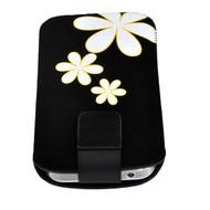 Samsung Galaxy Trend Plus - Insteekhoesje Cover Zwart Bloemdesign