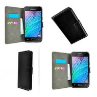 Samsung Galaxy Trend Plus - Wallet Bookstyle Case Lederlook Zwart
