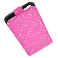 Apple Iphone 5 / 5S - Flip Case Cover Hoesje Glitterbloem Roze