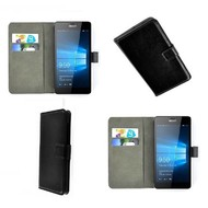 Microsoft Lumia 550 - Wallet Bookstyle Case Lederlook Zwart