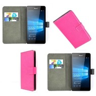 Microsoft Lumia 550 - Wallet Bookstyle Case Lederlook Roze