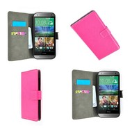 HTC One Mini 2 - Wallet Bookstyle Case Lederlook Roze
