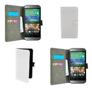 HTC One Mini 2 - Wallet Bookstyle Case Lederlook Wit
