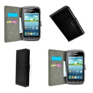 Samsung Galaxy Xcover 2 - Wallet Bookstyle Case Lederlook Zwart