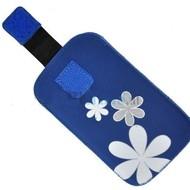 Samsung Galaxy Fame Lite - Insteekhoesje Cover Blauw Bloemdesign