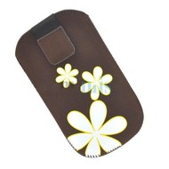 Samsung Galaxy Fame Lite - Insteekhoesje Cover Bruin Bloemdesign