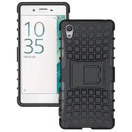 Sony Xperia XA - Schokbestendige Case Cover met Standfunctie Tweedelig Zwart