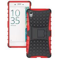Sony Xperia XA - Schokbestendige Case Cover met Standfunctie Tweedelig Rood/Zwart