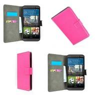 HTC One M9 - Wallet Bookstyle Smartphone Case Lederlook Roze