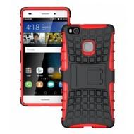 Huawei P9 Lite - Shockproof Case Cover Tweedelige Smartphone Hoesje Rood/Zwart