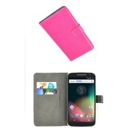 Motorola Moto G4 - Smartphone Hoesje Wallet Bookstyle Case Lederlook Roze