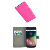 Motorola Moto G4 Plus - Smartphone Hoesje Wallet Bookstyle Case Lederlook Roze