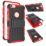 Apple iPhone 6s - Shockproof Case Cover Tweedelige Smartphonehoesje Standfunctie Rood/Zwart