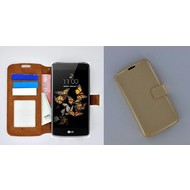 LG K8 - Smartphonehoesje Wallet Bookstyle Case Lederlook Goud