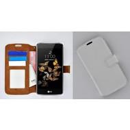 LG K8 - Smartphonehoesje Wallet Bookstyle Case Lederlook Wit
