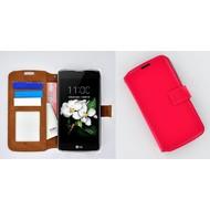LG K7 - Smartphonehoesje Wallet Bookstyle Case Lederlook Roze