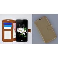LG K7 - Smartphonehoesje Wallet Bookstyle Case Lederlook Goud