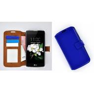 LG K7 - Smartphonehoesje Wallet Bookstyle Case Lederlook Blauw